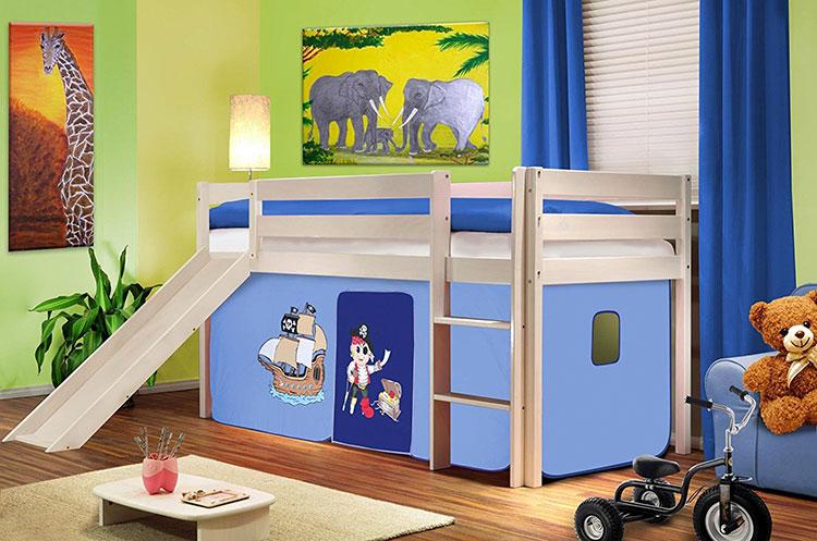 Modello di letto a soppalco con scivolo per bambini n.10