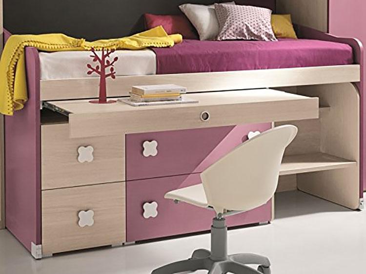 Modello di letto a soppalco con scrivania per bambini n.01