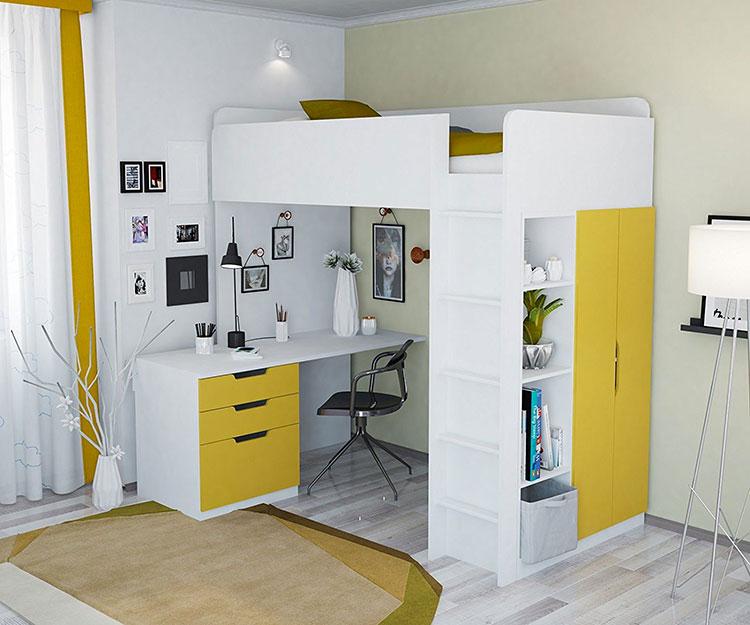 Modello di letto a soppalco con scrivania per bambini n.02