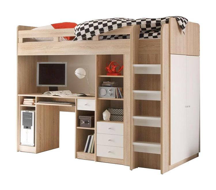 Modello di letto a soppalco con scrivania per bambini n.03