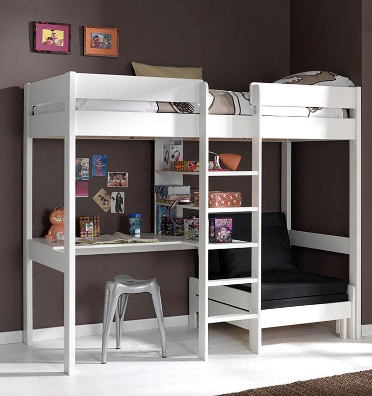 Modello di letto a soppalco con scrivania per bambini n.04