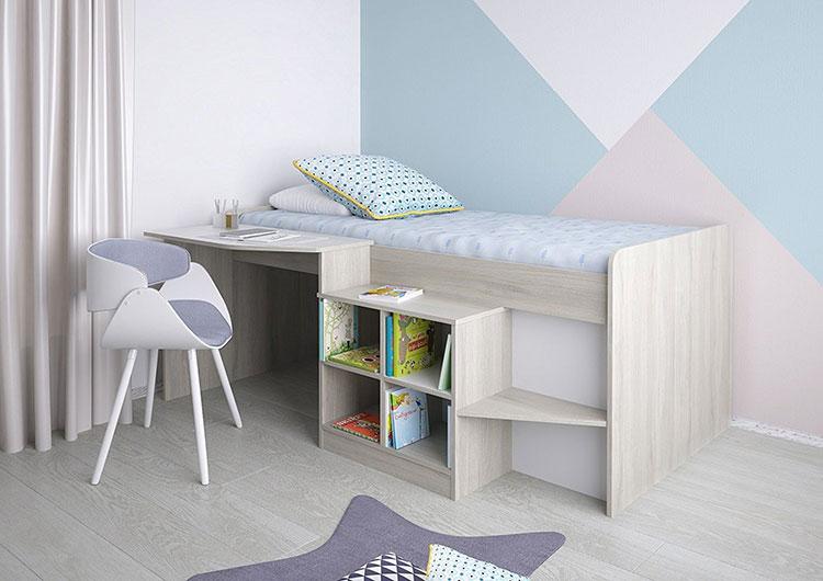 Modello di letto a soppalco con scrivania per bambini n.05