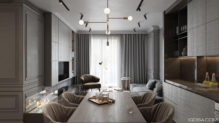 Salotto e sala da pranzo insieme classici n.01