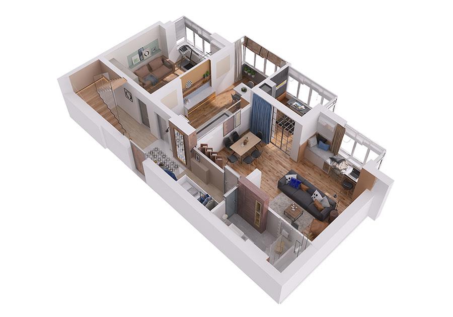 Progetto per una casa di 130 mq n.34
