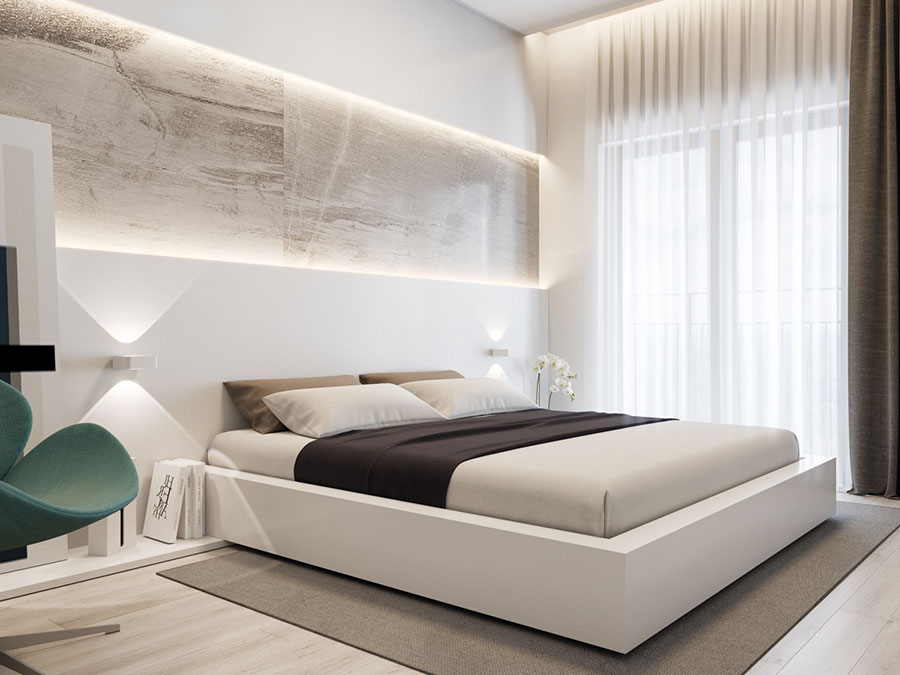 20 idee per arredare una camera da letto bianca e grigia - Camera da letto contemporanea bianca ...