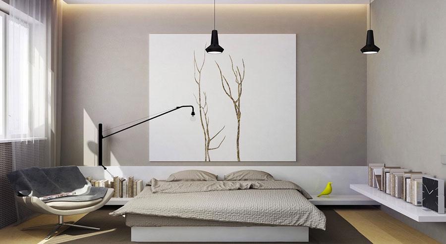 Arredamento per camera da letto bianca e grigia n.06