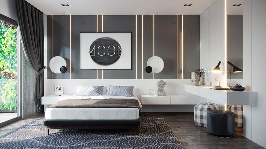 20 idee per arredare una camera da letto bianca e grigia moderna - Camera da letto nera e bianca ...