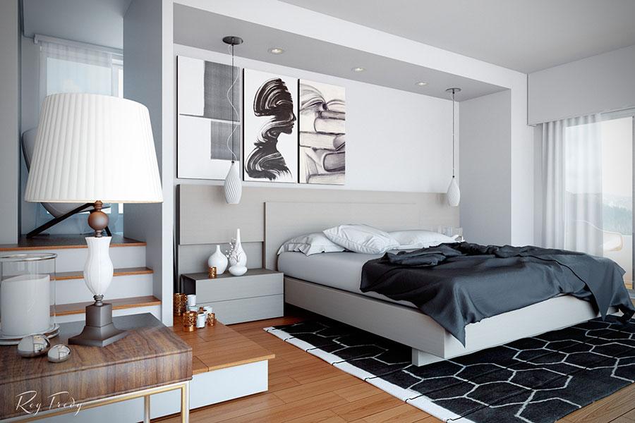 Arredamento per camera da letto bianca e grigia n.09