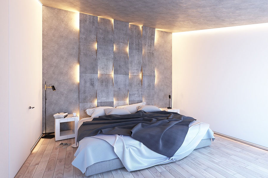 Arredamento per camera da letto bianca e grigia n.10