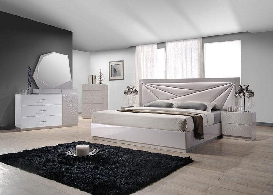 Camere Bianche E Grigie : Idee per arredare una camera da letto bianca e grigia moderna