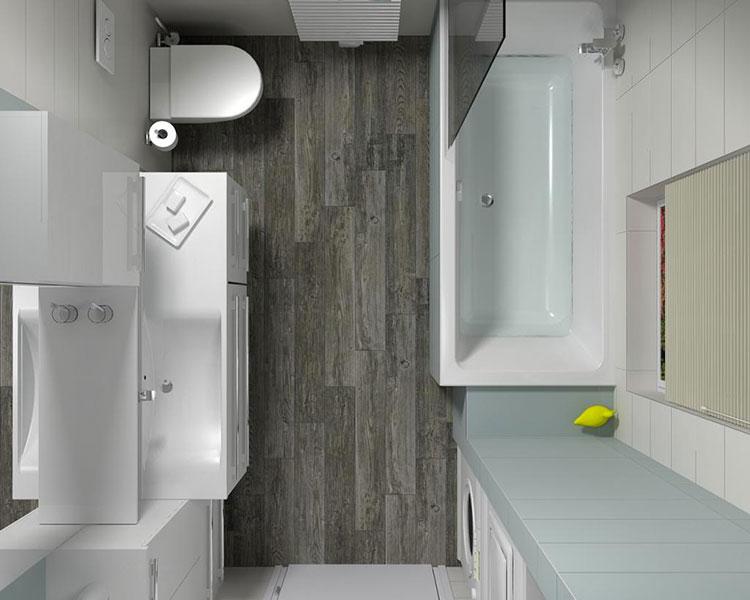 Progetto di bagno piccolo con vasca n.32