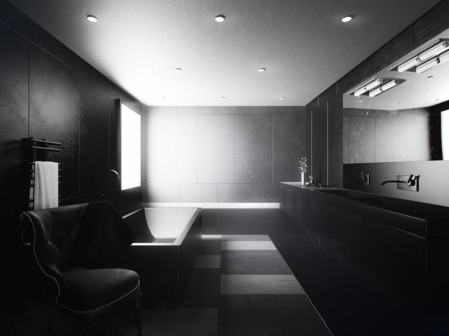 Progetto di bagno nero moderno n.02