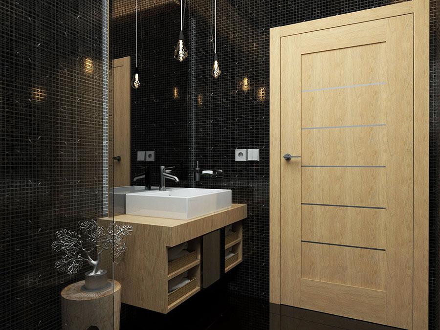 Progetto di bagno nero moderno n.04