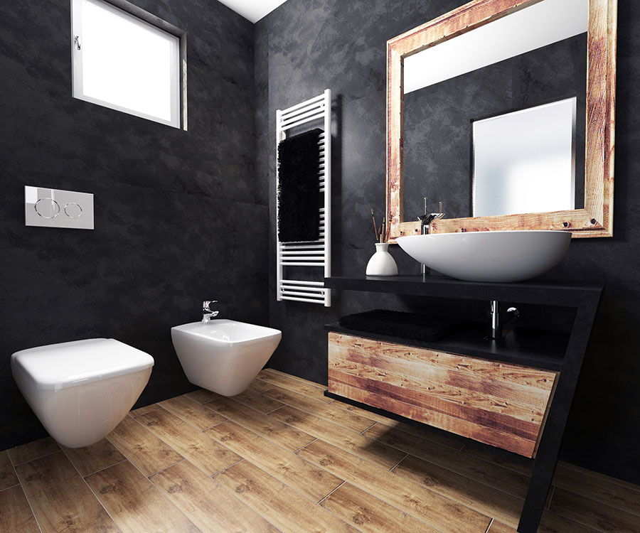Bagno con pareti nere n.01