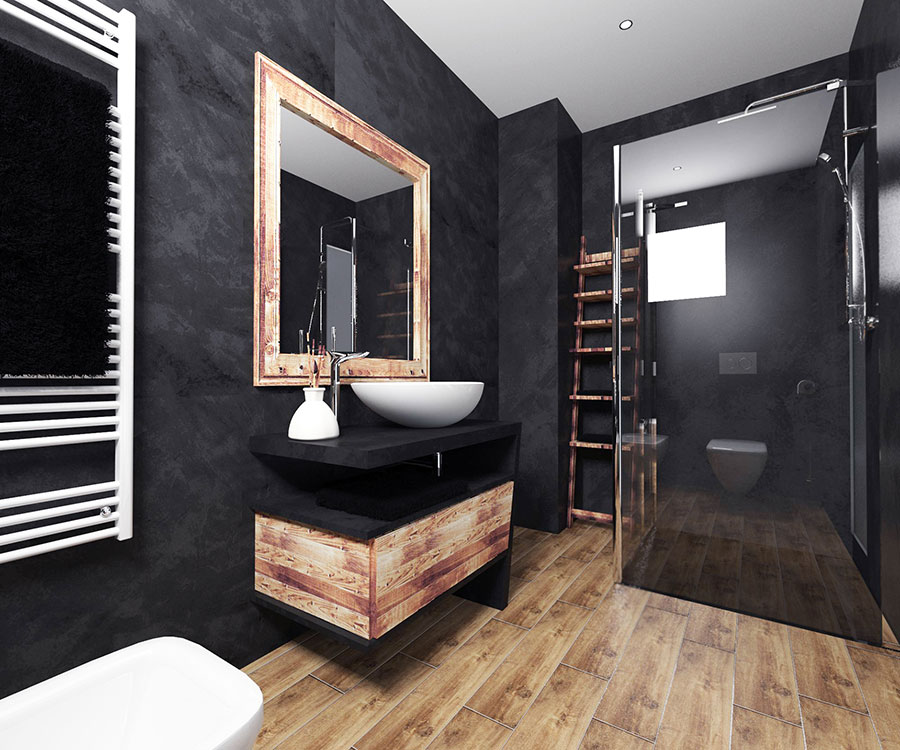 Progetto di bagno nero moderno n.06