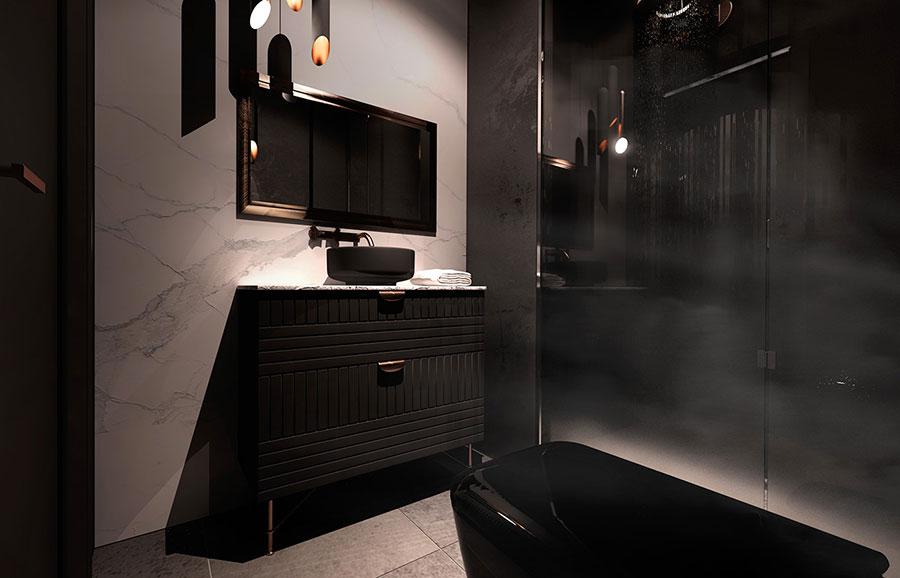 Progetto di bagno nero moderno n.08
