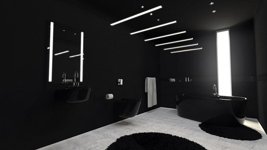 Progetto di bagno nero moderno n.09