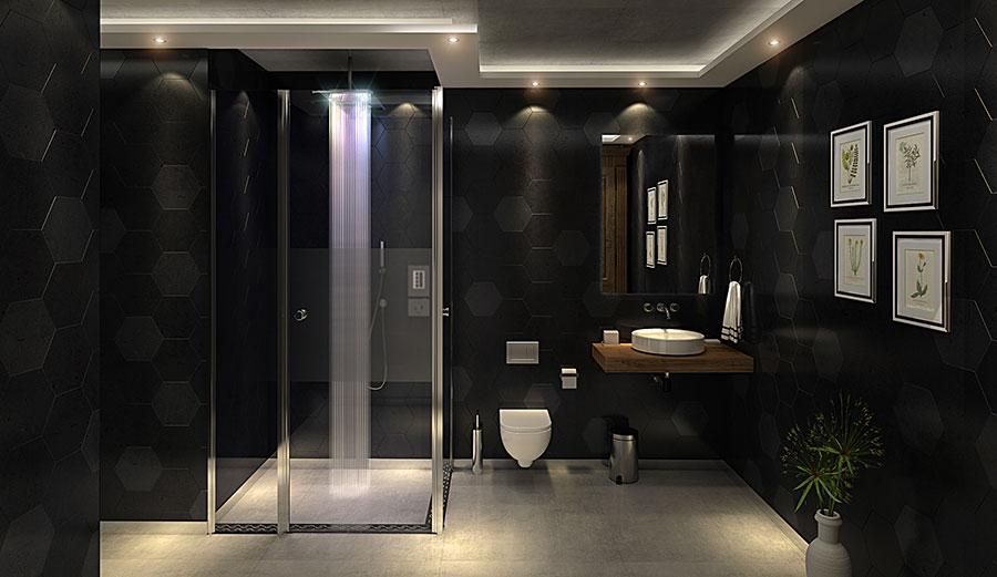 Progetto di bagno nero moderno n.10