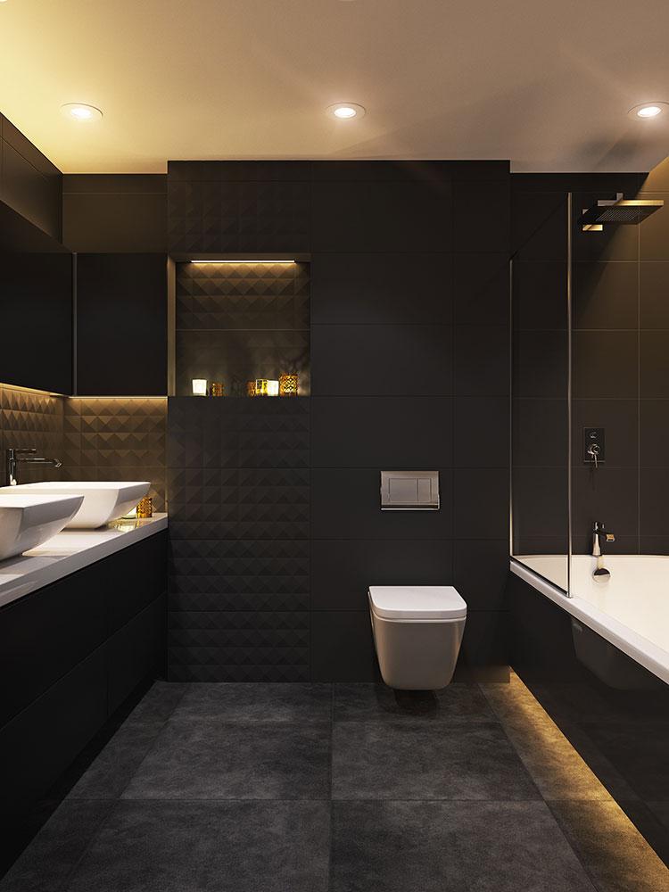Progetto di bagno nero moderno n.12