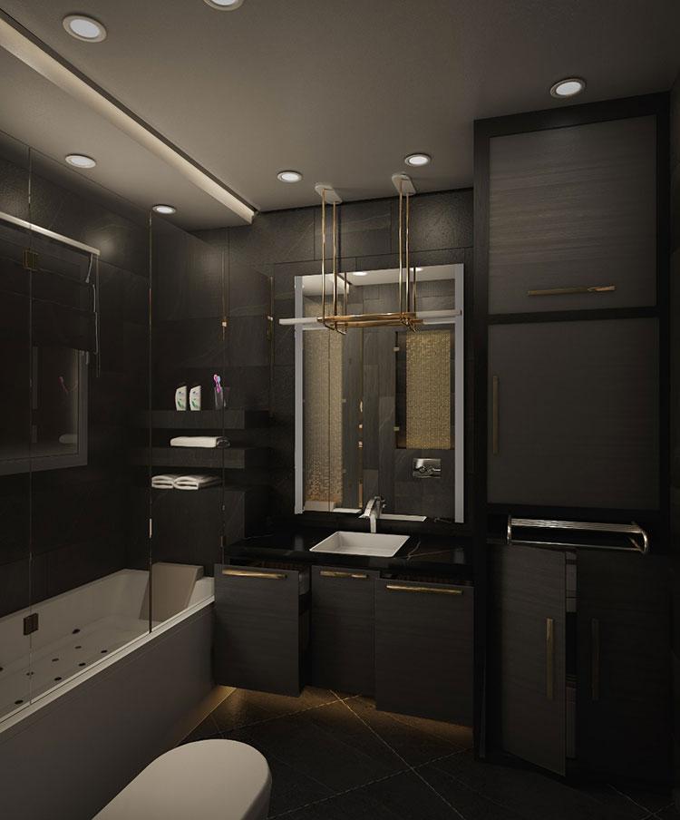 Progetto di bagno nero moderno n.13