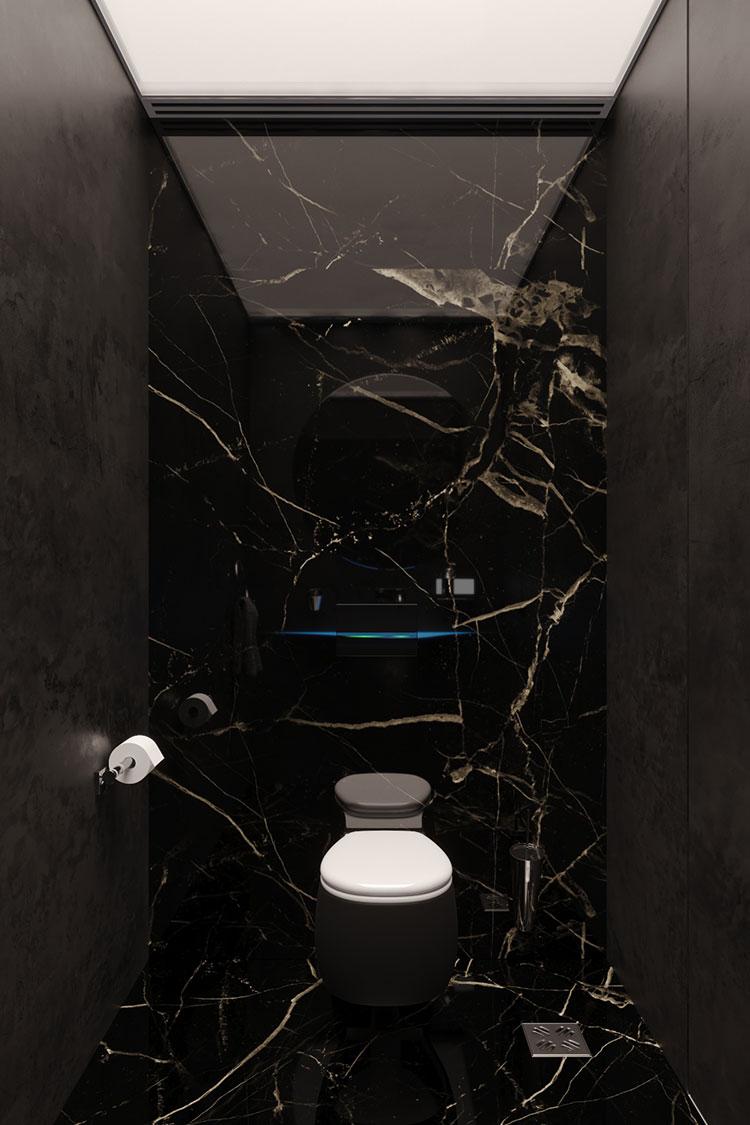 Progetto di bagno nero moderno n.14