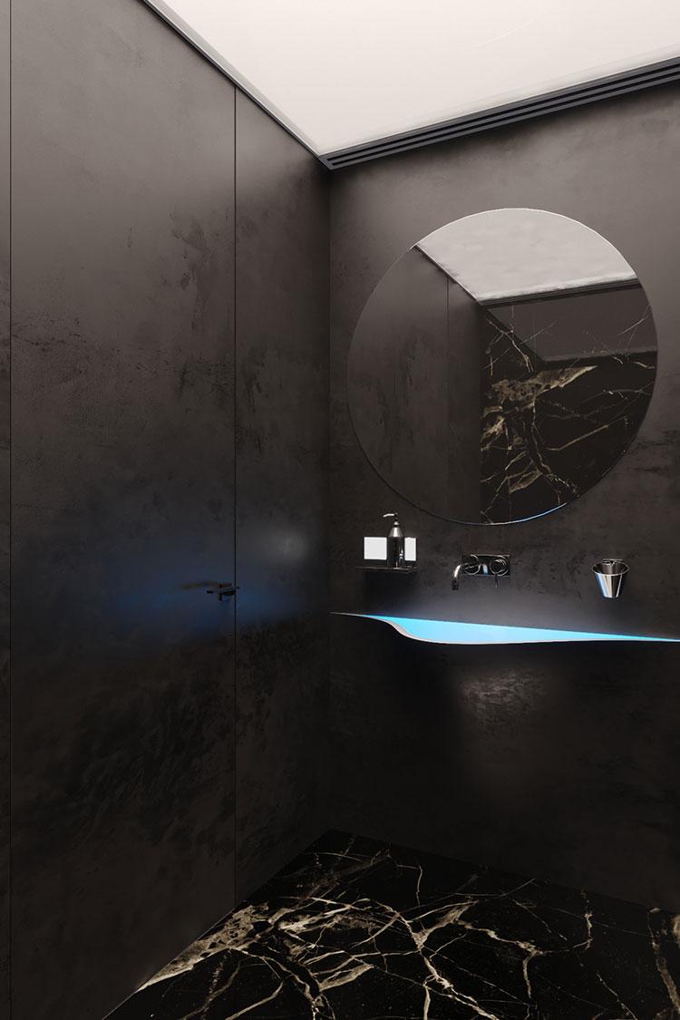 Progetto di bagno nero moderno n.15