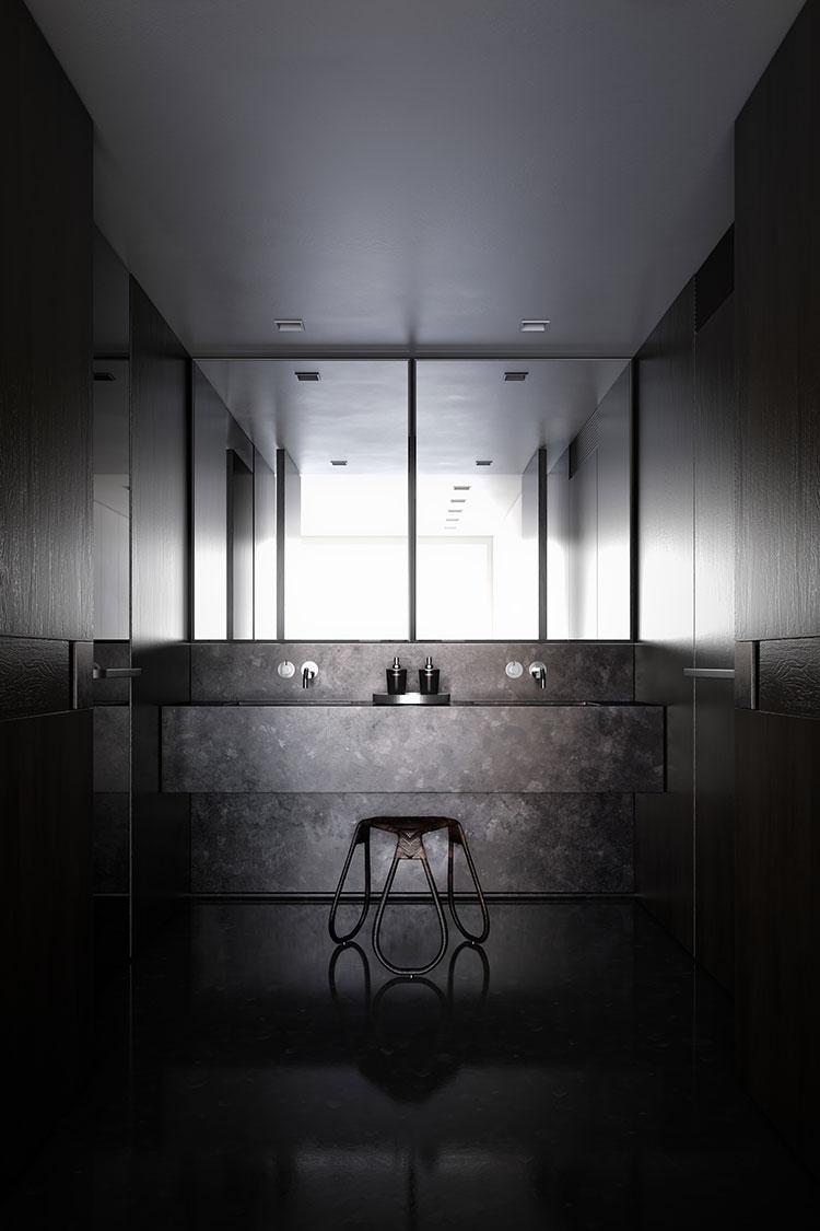 Progetto di bagno nero moderno n.16