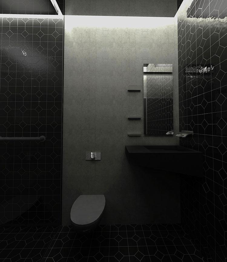 Progetto di bagno nero moderno n.18