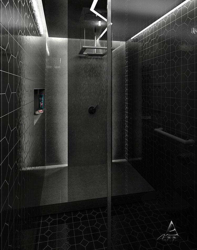 Progetto di bagno nero moderno n.19