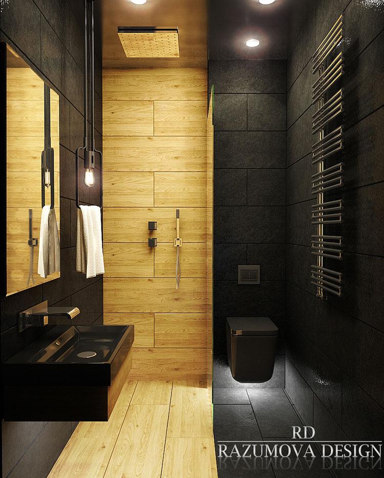 Progetto di bagno nero moderno n.22