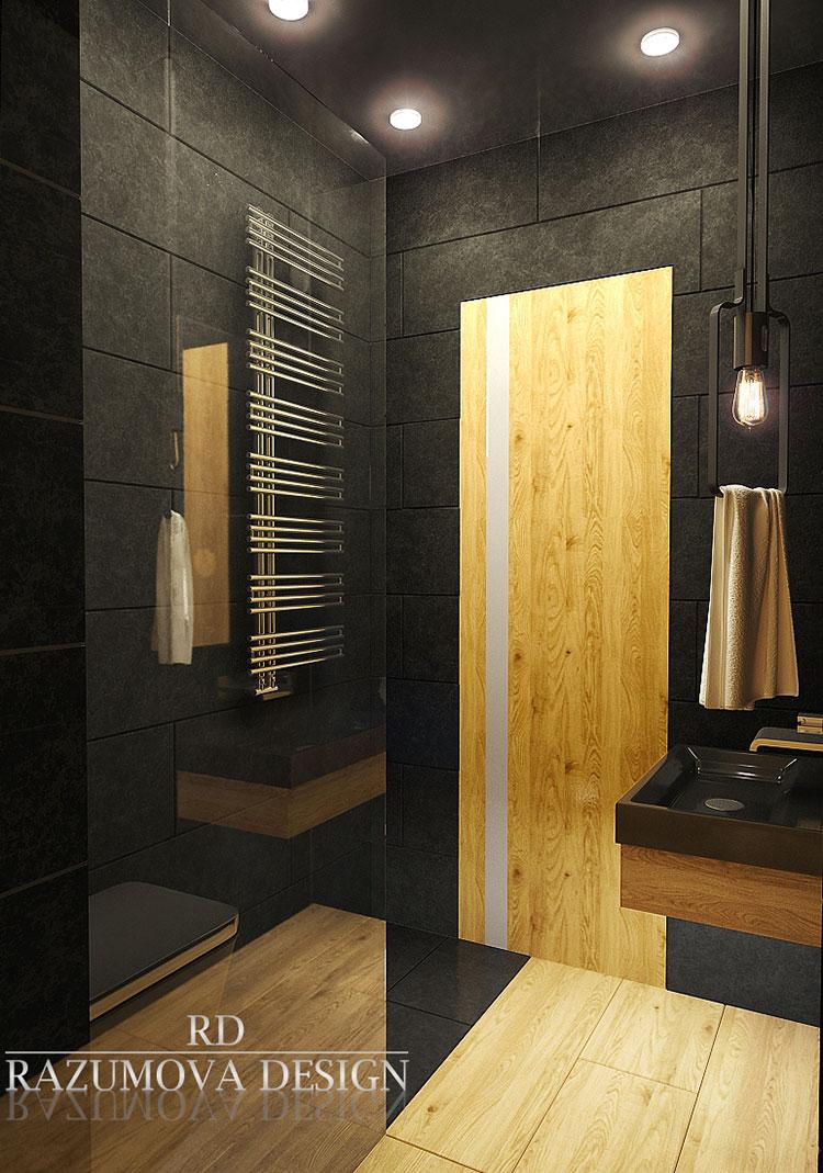 Progetto di bagno nero moderno n.23