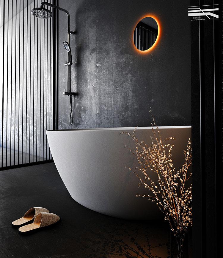 Progetto di bagno nero moderno n.24