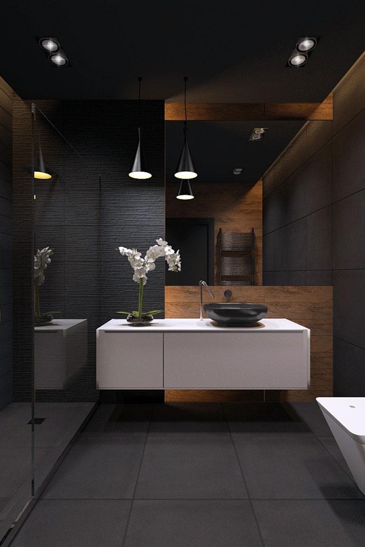 Progetto di bagno nero moderno n.25