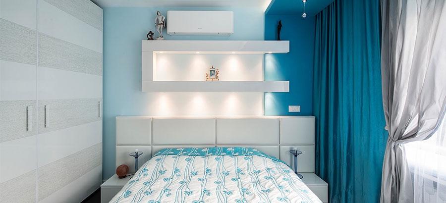 Camera da letto nella sfumatura blu pastello n.2