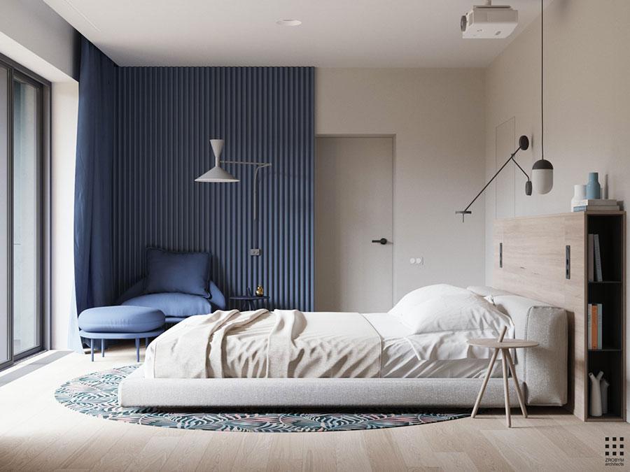 Colori bianco e blu per la camera da letto 3