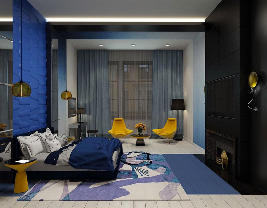 Camera da letto nella sfumatura blu oltremare n.1