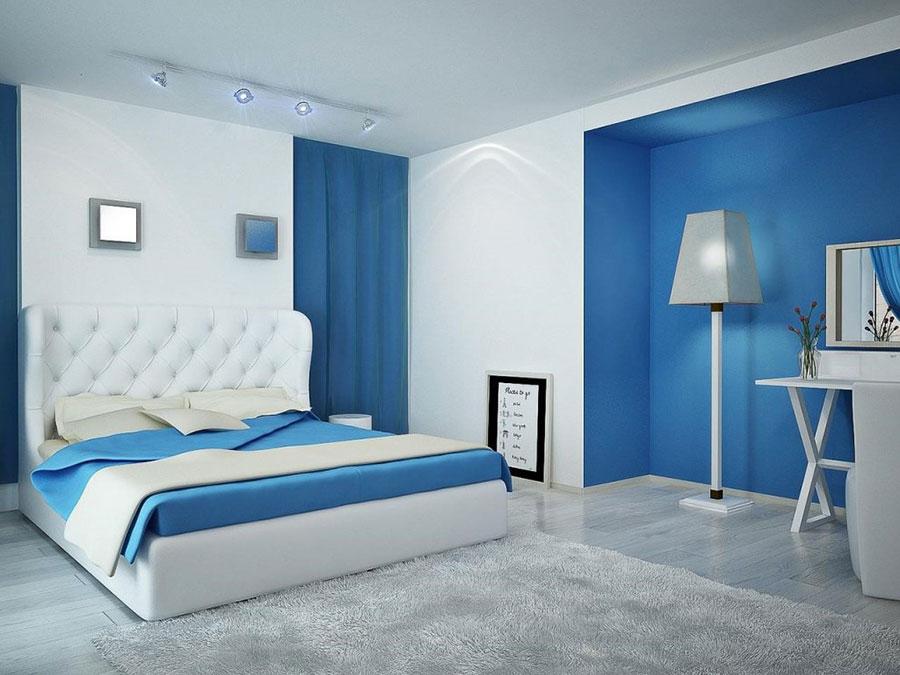 Colori bianco e blu per la camera da letto 1