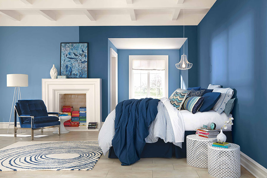 Camera da letto nella sfumatura blu moon n.1