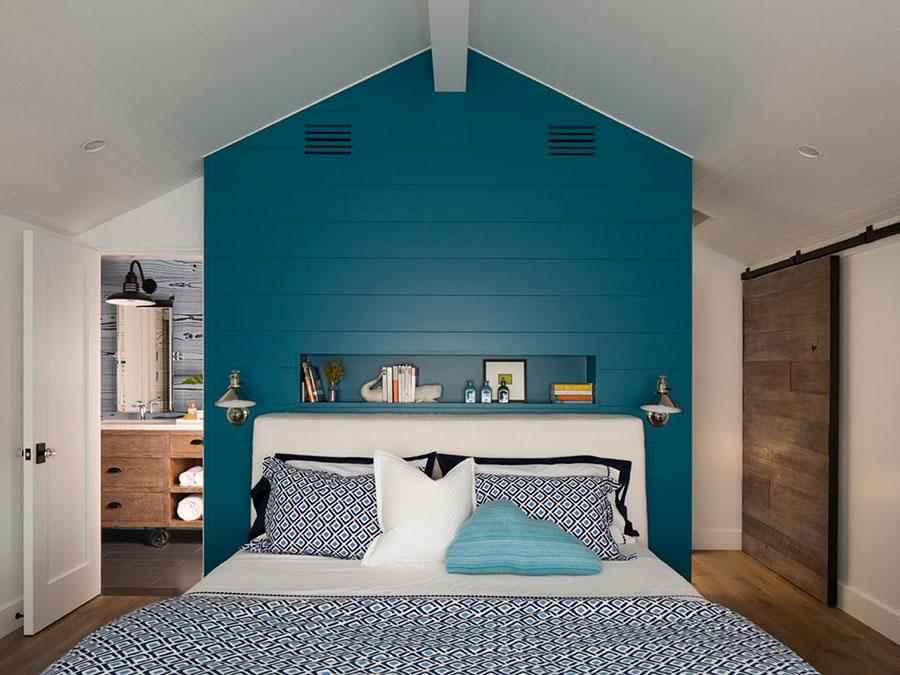 Camera da letto nella sfumatura blu petrolio n.2