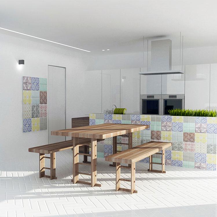 Idee per rivestimenti con cementine in cucina n.04