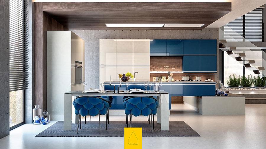 Idee per arredare una cucina blu n.01