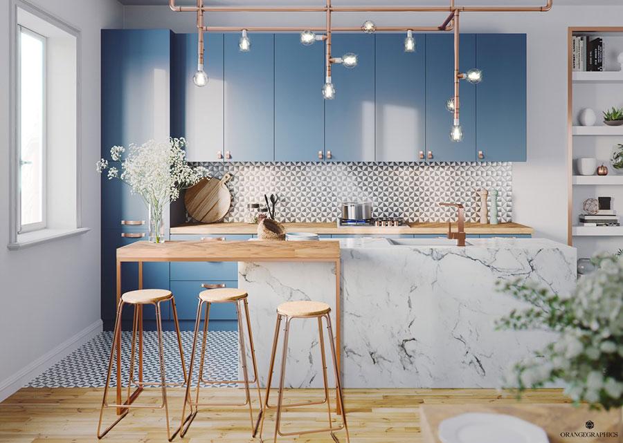 Idee per arredare una cucina blu n.03