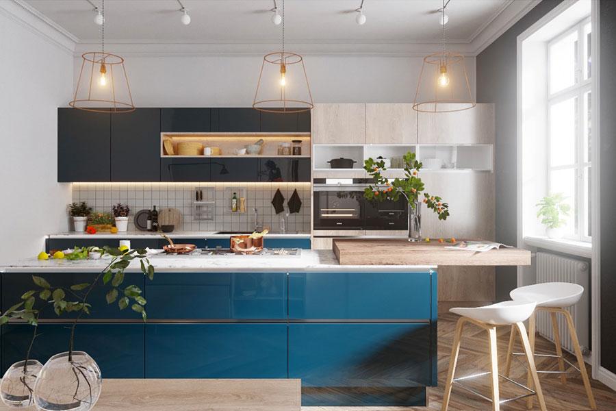 Idee per arredare una cucina blu n.04