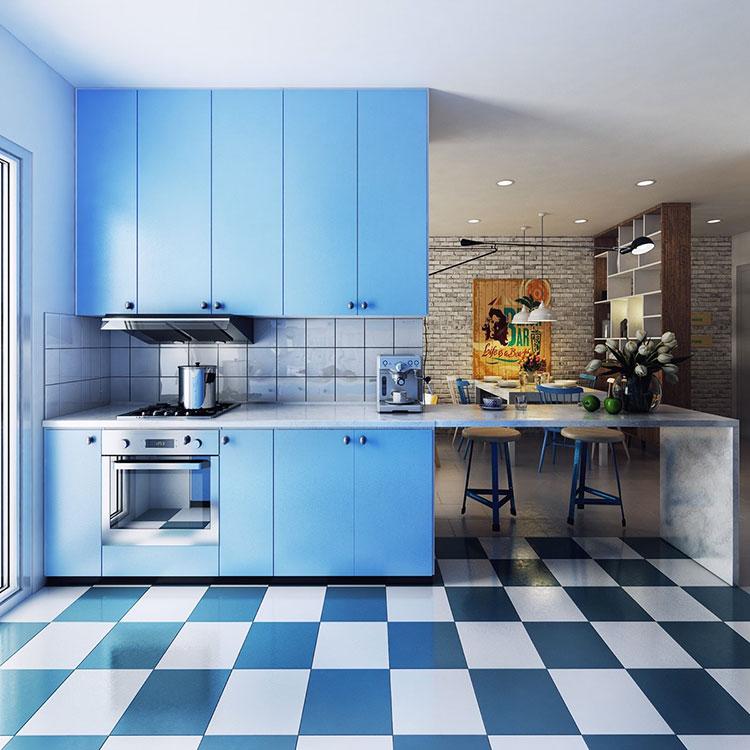 Idee per arredare una cucina blu n.06