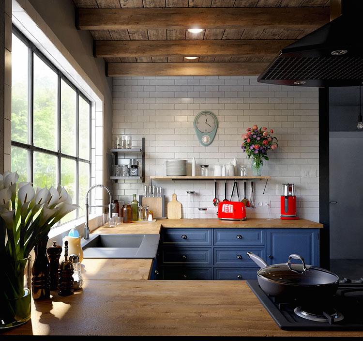 Idee per arredare una cucina blu n.17