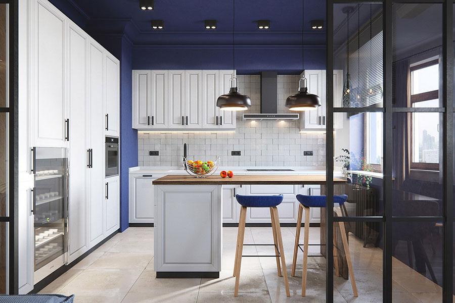 Idee per arredare una cucina blu n.22