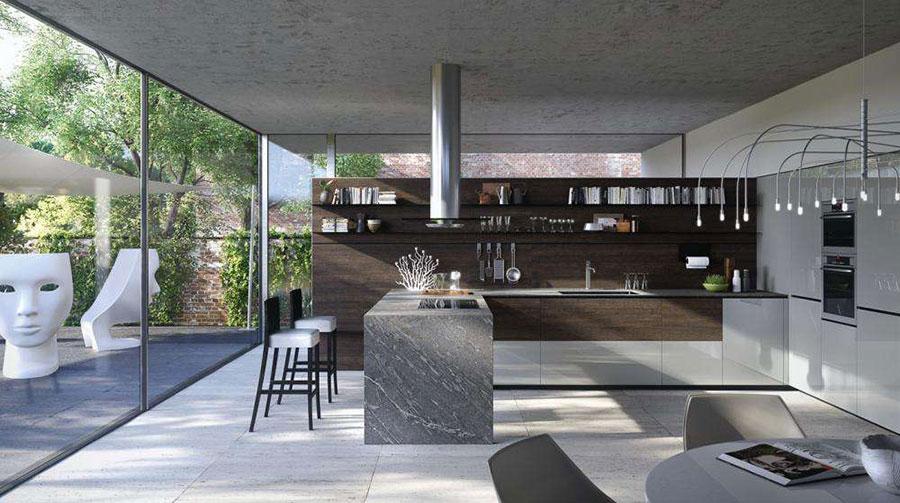 Modello di cucina lineare di design di Valcucine n.1