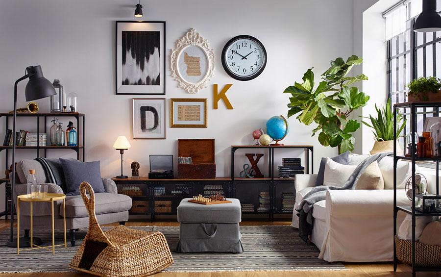 Idee per arredare un soggiorno con Ikea in stile industriale n.3