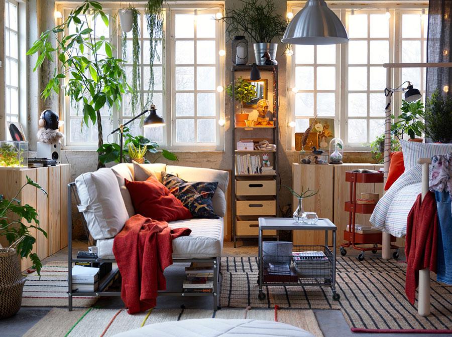 Idee per arredare un soggiorno con Ikea in stile industriale n.4
