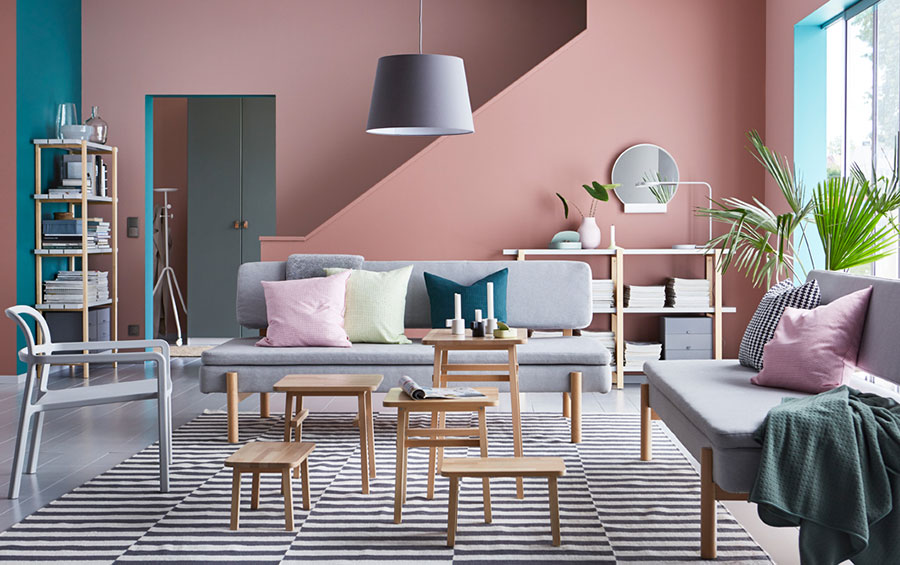 Idee per arredare un soggiorno con Ikea in stile vintage n.1